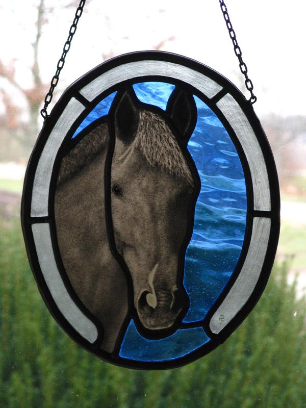 Glasatelier Buitendijk *** Paard - gebrandschilderd